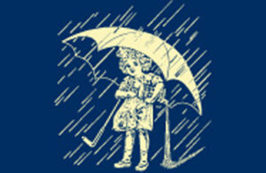 "The famous Morton Salt Umbrella Girl and slogan, ""When It Rains It Pours®"" first appear on the blue package of table salt and in a series of Good Housekeeping magazine advertisements. The slogan is adapted from an old proverb, ""It never rains but it pours."""